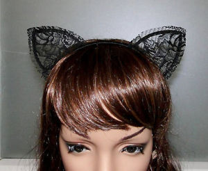 Black Vintage French Lace Bunny Mouse Bat Cat Ear Veil Hairband Headband Alice | eBay