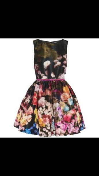 dress black floral belt