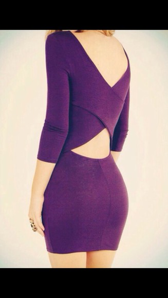 perfecto style cotton cute dress purple dress dress party sexy dress cut-out dress cut out bodycon dress