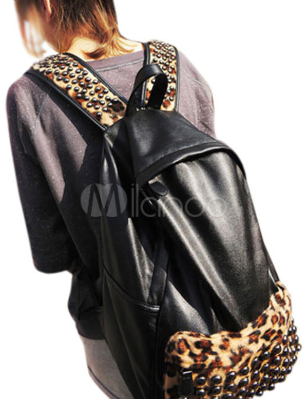 bag black leoprd leopard print studs backpack bookbag cute back to school