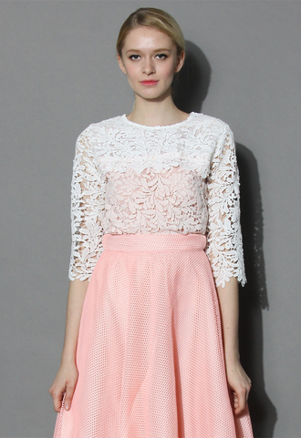 top chicwish crochet top summer top spring top pink top lace top chicwish.com