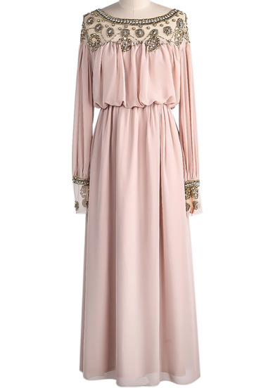 Apricot long sleeve bead pleated chiffon dress