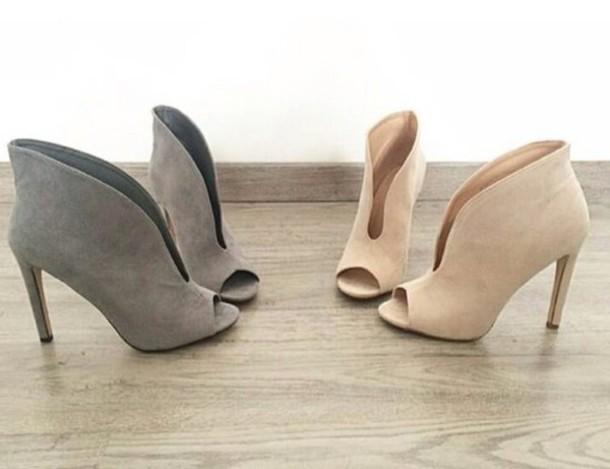 f0adbbb4f02 shoes grey black brown peep toe heels heels high heels boots peep toe boots  peeptoe ankle