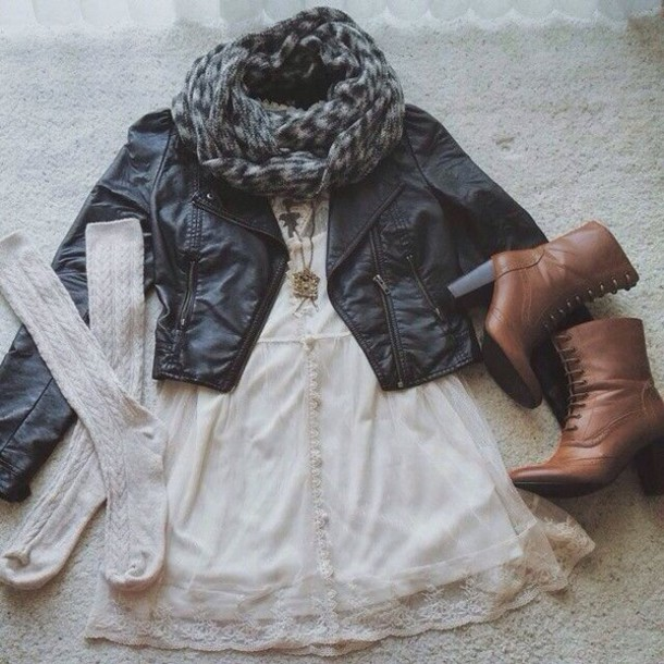 dress lace dress white dress pretty scarf grey scarf shoes brown shoes leather boots brown shoes country boots jacket black jacket chic style movies fashion preppy dress jewels blouse socks boots white necklace leather jacket white t-shirt high heels boots coat tumblr cute hipster