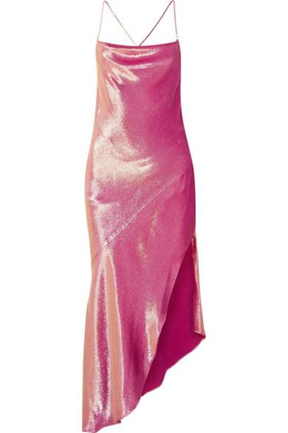 Haney dress metallic silk pink