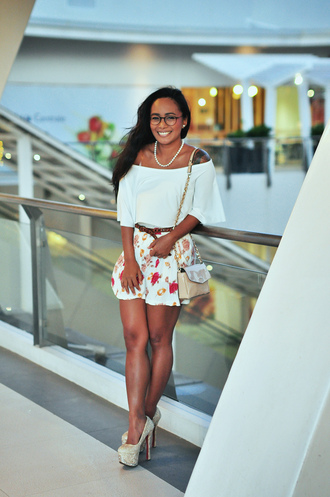 fatal project 666 blogger floral skirt off the shoulder white top mini skirt nude heels louboutin pearl