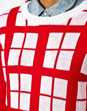 Asos check jumper in contrast yarn at asos