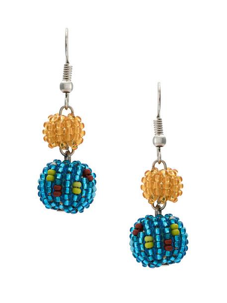 women beaded earrings yellow orange jewels