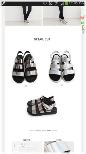 holographic sandals flat sandals flatform korean stroppy sandal