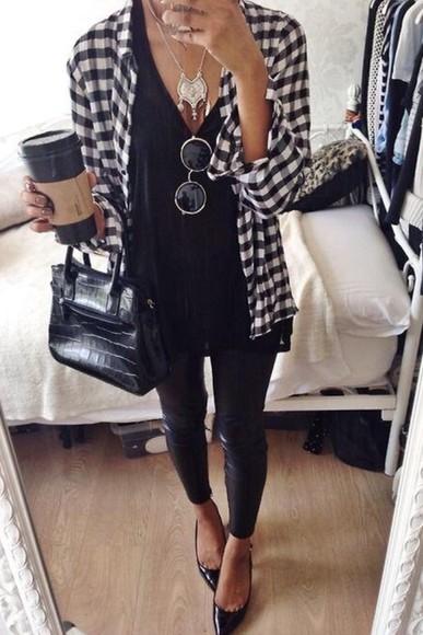 shirt black checkered t-shirt white