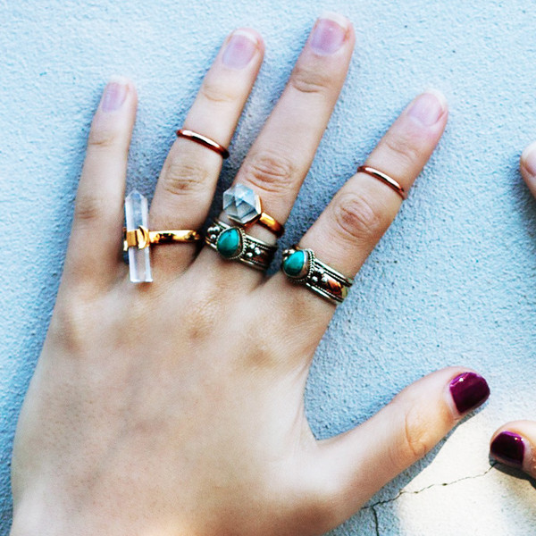 jewels crystal crystal crystal ring knuckle ring gold ring turquoise rings turquoise boho bohemian hippie ring