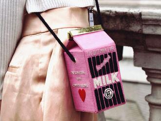 bag pink bag food heart designer bag olympia le-tan crossbody bag
