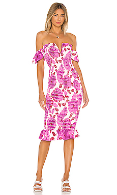 Sun Becomes Her Bardot Midi Dress in Cassis Floral from Revolve.com