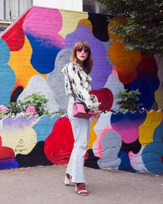 shirt floral top tumblr floral denim jeans blue jeans flare jeans sandals sandal heels high heel sandals sunglasses bag shoes