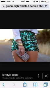 shorts,high waisted green sequin stretch shorts