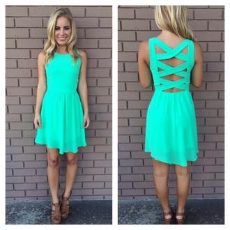 dress aqua cut out dress cross body back turquoise