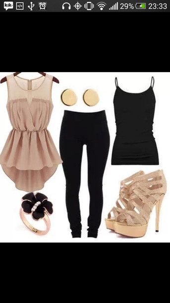 blouse dressy tops skinny pants bracelets high heels earings shoes sunglasses leggings