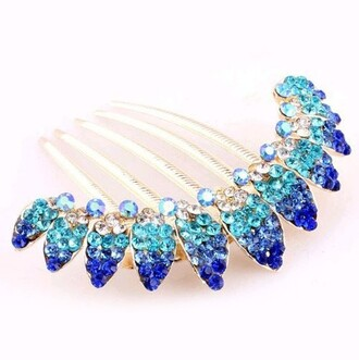 hair accessory comb clip blue rhinestones gold