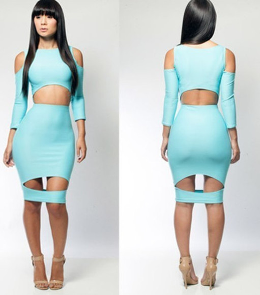 mint dress bodycon midi stretch club