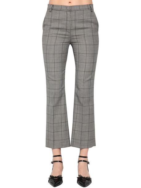RED VALENTINO Wool Prince Of Wales Pants in grey