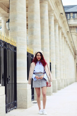 preppy fashionist blogger jacket shirt skirt bag sneakers fall outfits beret mini skirt shoulder bag blue shirt