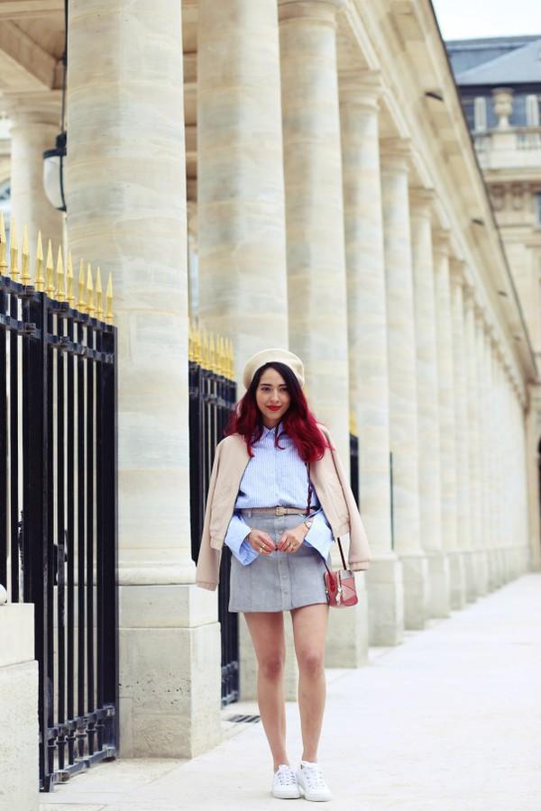 preppy fashionist blogger jacket shirt skirt bag sneakers fall outfits beret mini skirt shoulder bag blue shirt