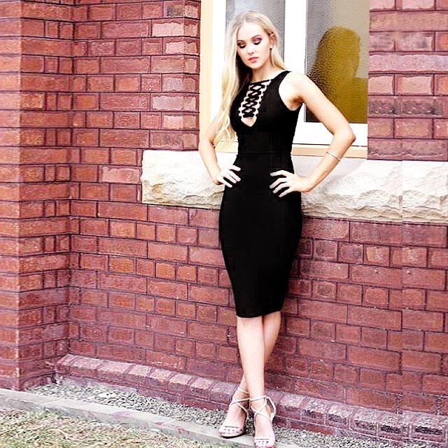 Lace Up Bandage Dress Black