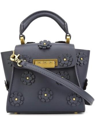 mini women embellished floral blue bag