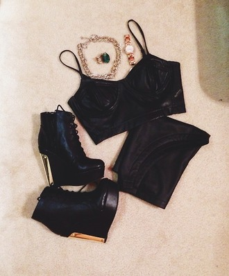 shoes black wedges gold heel lace up wedges