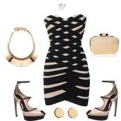 dress,shoes,bag,jewels,jacket,denim,jeans,denim jacket,blue jacket,blue,stripes,striped dress,high neck,turtleneck dress,short sleeve,red dress