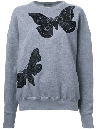 sweatshirt embroidered women butterfly cotton green sweater