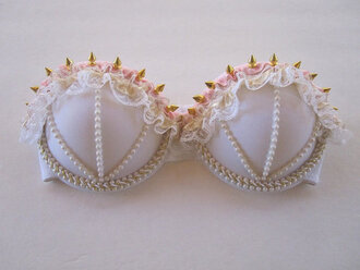 underwear pale pearl rose lase spike gold bra white bra white cute pink