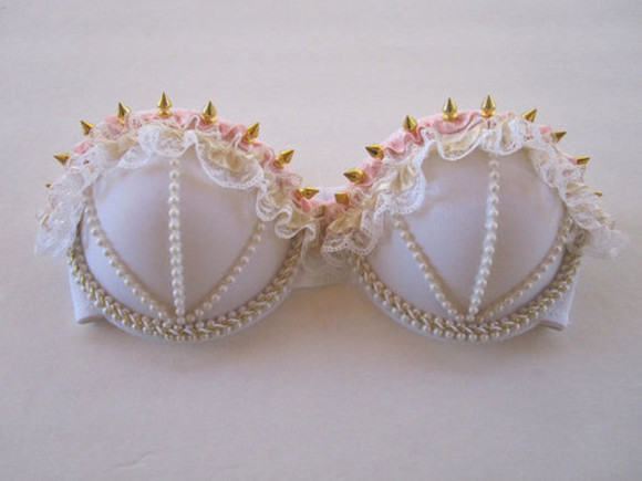 white cute underwear bra pale pearl rose lase spike gold white bra pink