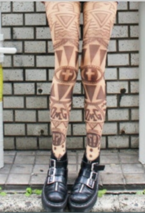 pants tattoo tights tights printed tights