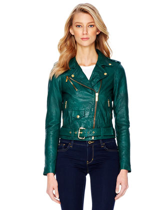 MICHAEL Michael Kors  Crinkled Leather Moto Jacket - Michael Kors