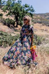 late afternoon,blogger,boho,boho dress,floral dress,floral maxi dress,flowers,belted dress,romantic dress,romantic summer dress,long dress,long sleeved maxi dress