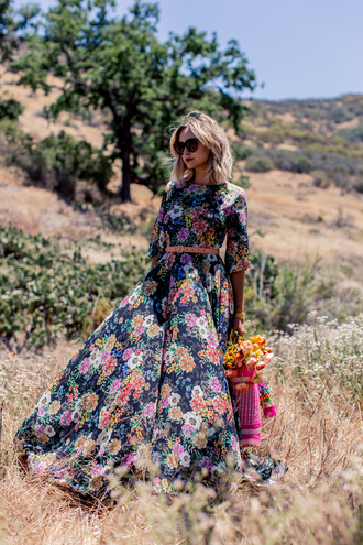 late afternoon blogger boho boho dress floral dress floral maxi dress flowers belted dress romantic dress romantic summer dress long dress long sleeved maxi dress