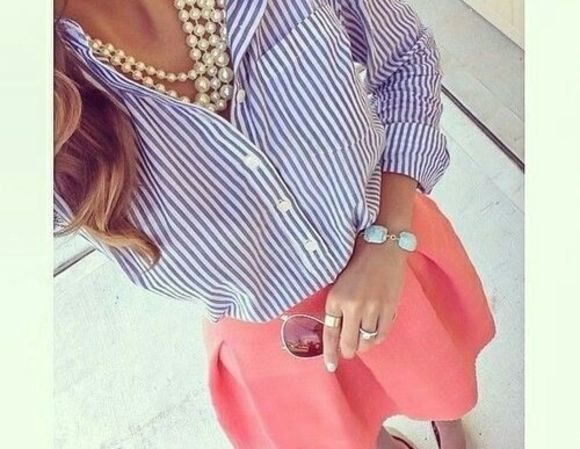 sweet skirt stripes pearls bluse rock blouse ehite coral apricot oramge lovely style paris white blue stripes coral skirt apricot skirt