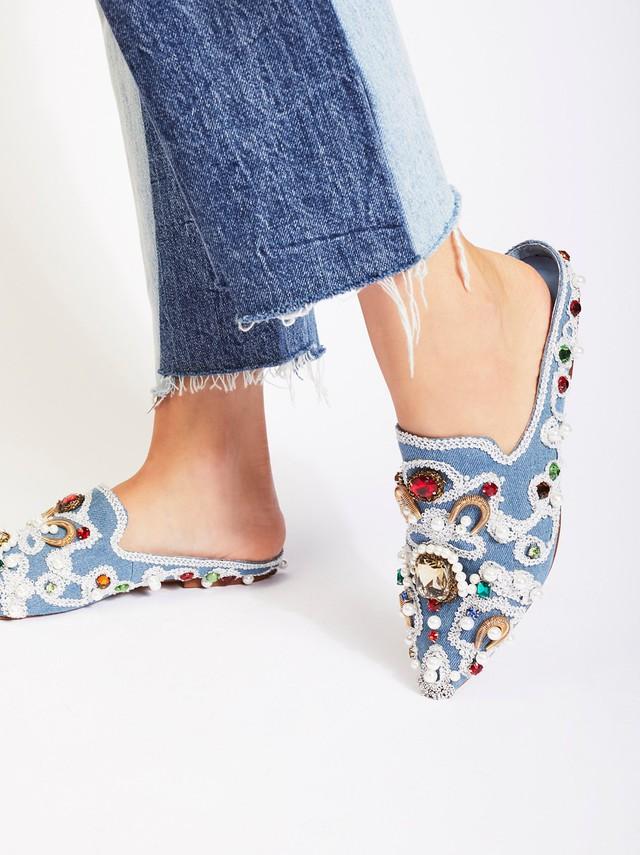 Miu Miu Pearl Slides Embellished Shoes Wheretoget