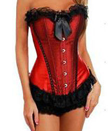 New Red Black Lace front Corset top & Pants Lace up back Fully Boned Club Top 16 | eBay