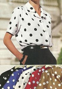 Maurada Ladies Polka Dot Short Sleeve Button Down Blouse White Black | eBay