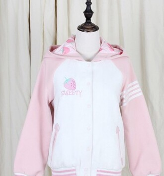jacket lovely pink kawaii strawberry strawberry fields forever sweet pastel japan japanese lolita warm sweater shirt fluffy harajuku hoodie