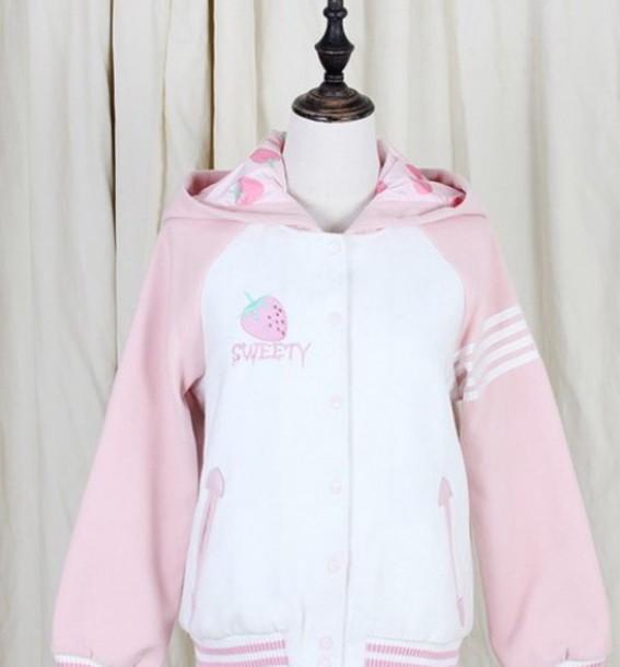 jacket lovely pink kawaii strawberry strawberry fields forever sweet kawaii pastel japan japanese lolita warm sweater shirt fluffy harajuku hoodie