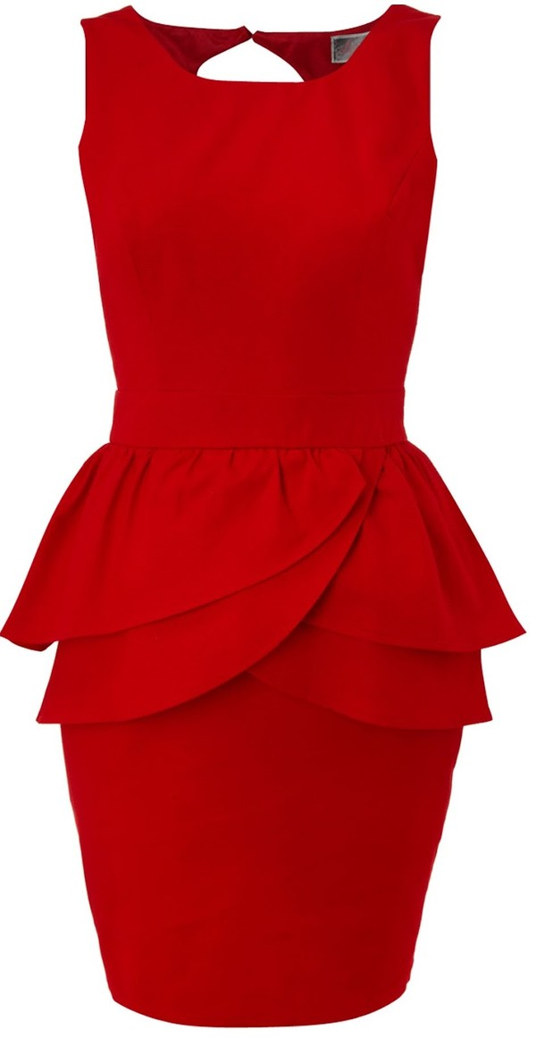 dress red peplum dress