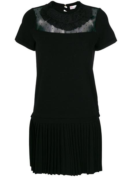 RED VALENTINO dress women lace cotton black