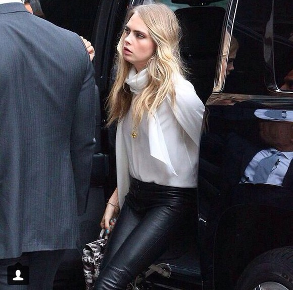 cara delevingne blouse leather pants