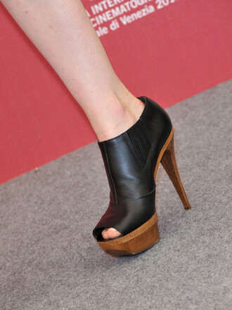 shoes leather wooden heel open toes