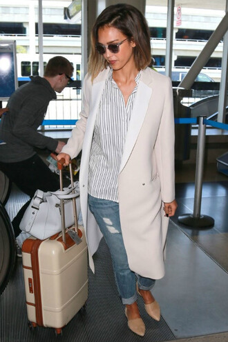 sunglasses flats ballet flats jessica alba shirt coat shoes
