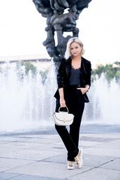 late afternoon,blogger,jacket,pants,top,shoes,bag,jewels,blazer,velvet blazer,suit,black suit,velvet suit,gold sneakers