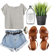 t-shirt,stripes,shorts,denim,brown,strappy,sandals,High waisted shorts,acid wash,shoes